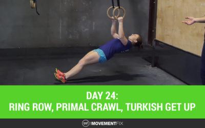 Day 24: Ring Row, Primal Crawl, Turkish Get Up